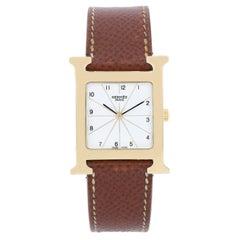 Hermes Ladies Gold-Plated Heure H Quartz Wristwatch Ref HH1.501