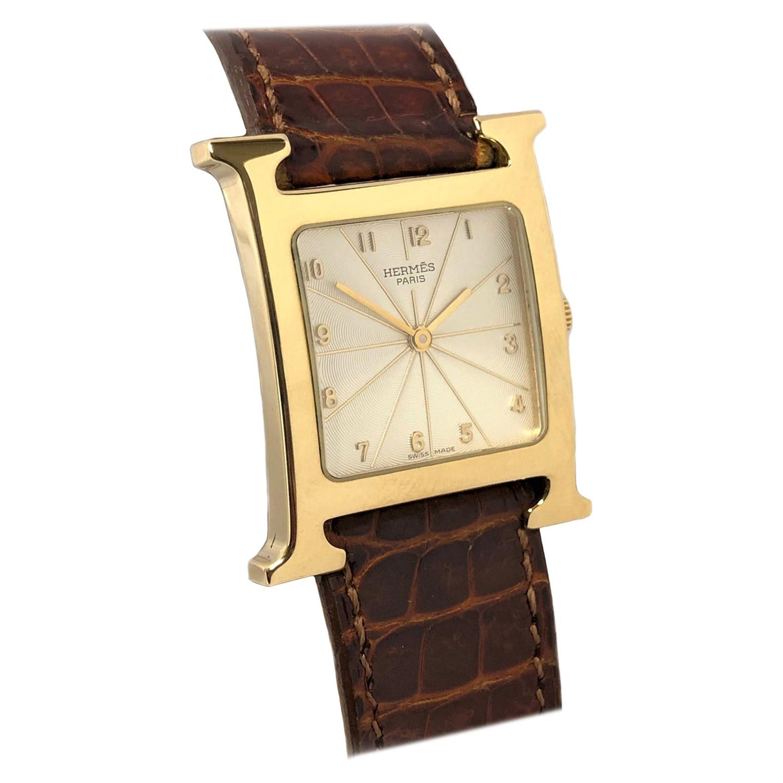 Hermès Heure H Large Yellow Gold Quartz Wristwatch