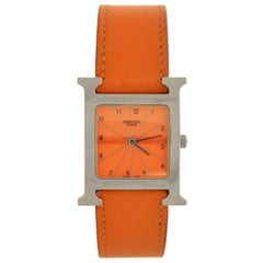 Hermés Heure H Stainless Steel Orange Leather Watch in Box
