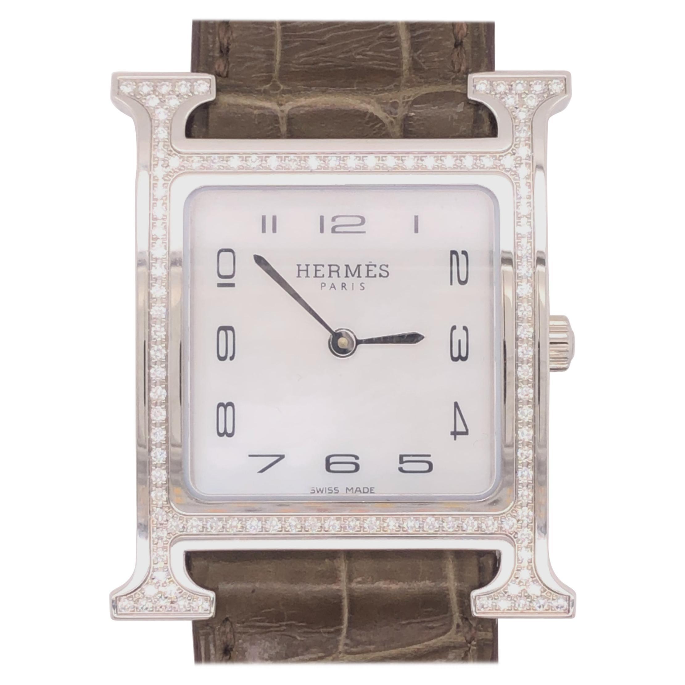 Hermes Heure H Watch Diamonds & Mother of Pearl