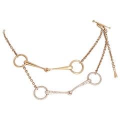 Hermes Horse Bit 18k Rose Gold Diamond Filet D'Or Necklace 1.83ctw