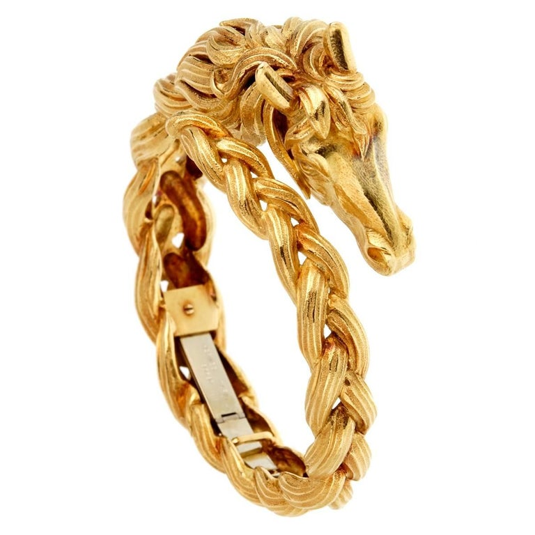 Hermes Horse Head Gold Bangle Bracelet For Sale
