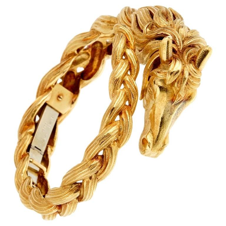 Hermes Horse Head Yellow Gold Bangle Bracelet For Sale