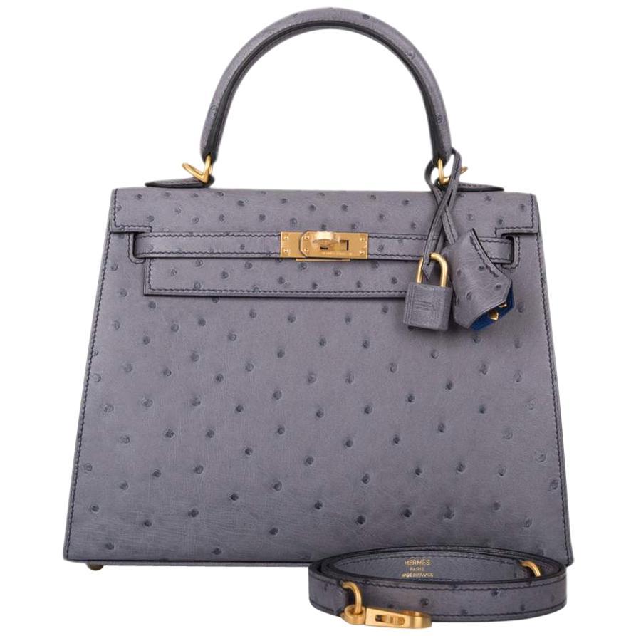 Hermès HSS Bi-Color Gris Agate and Bleu Electric Ostrich Sellier Kelly 25cm