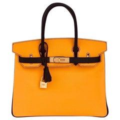Hermès HSS Bi-Color Jaune D'Or and Black Epsom Birkin 30cm Brushed Gold Hardware