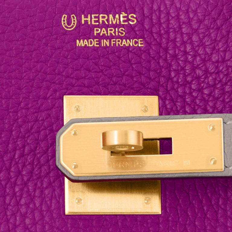 Hermes HSS Birkin 30cm Anemone and Gris Asphalte Horseshoe Stamp World Exclusive For Sale 5