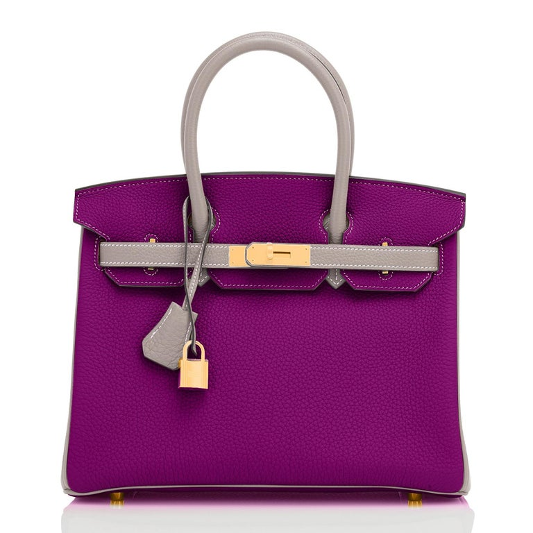 Purple Hermes HSS Birkin 30cm Anemone and Gris Asphalte Horseshoe Stamp World Exclusive For Sale