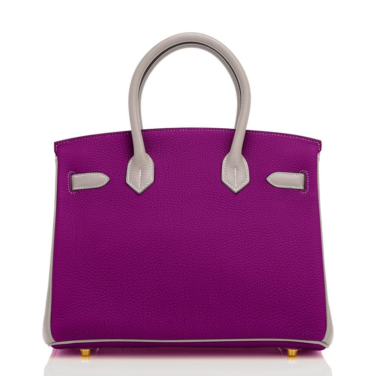 Women's Hermes HSS Birkin 30cm Anemone and Gris Asphalte Horseshoe Stamp World Exclusive For Sale