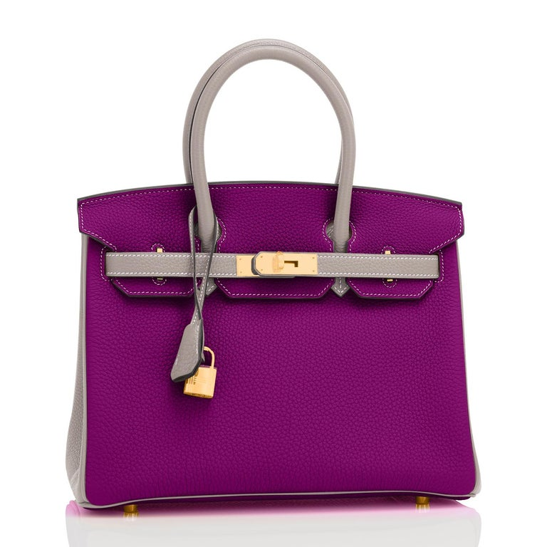 Hermes HSS Birkin 30cm Anemone and Gris Asphalte Horseshoe Stamp World Exclusive For Sale 1