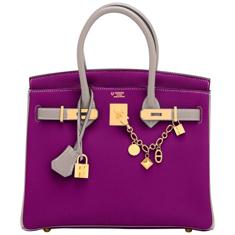 Hermes HSS Birkin 30cm Anemone and Gris Asphalte Horseshoe Stamp World Exclusive For Sale