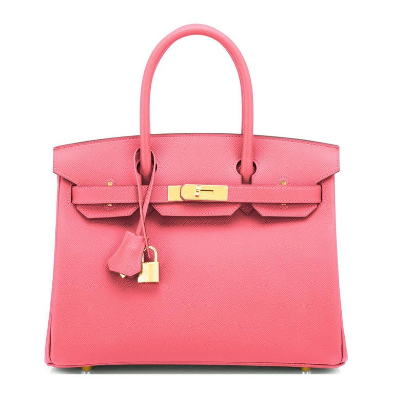 Hermes HSS Birkin 30cm Rose Azalee Gris Mouette Epsom Gold NEW VIP EXCLUSIVE For Sale 6