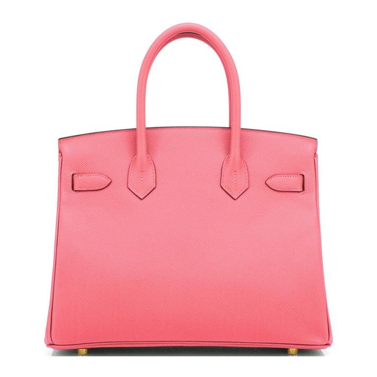 Hermes HSS Birkin 30cm Rose Azalee Gris Mouette Epsom Gold NEW VIP EXCLUSIVE For Sale 3