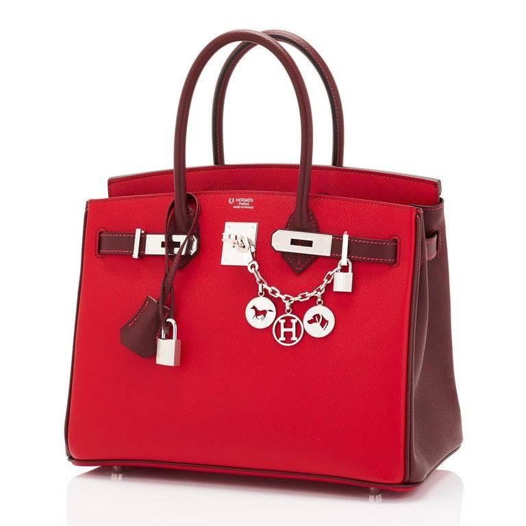 Women's Hermes HSS Birkin 30cm Rouge Casaque Bordeaux Red Horseshoe VIP Y Stamp, 2020 For Sale
