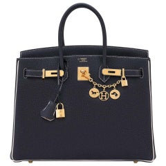 "Hermes HSS Birkin Black Craie ""Chalk"" Off White 35cm Bag VIP World Exclusive"