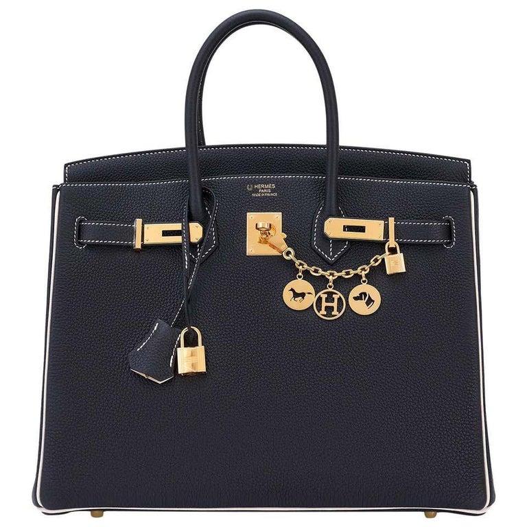 "Hermes HSS Birkin Black Craie ""Chalk"" Off White 35cm Bag VIP World Exclusive For Sale"