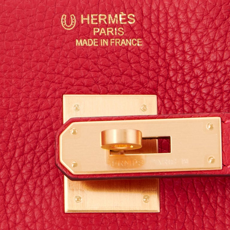 Hermes HSS Rouge Casaque and Rose Extreme 35cm Clemence Birkin Special Order Horseshoe Stamp Brand New in Box. Store fresh. Pristine Condition (with plastic on hardware) Perfect gift! Comes in full set with clochette, lock, keys, raincoat, dust bag,
