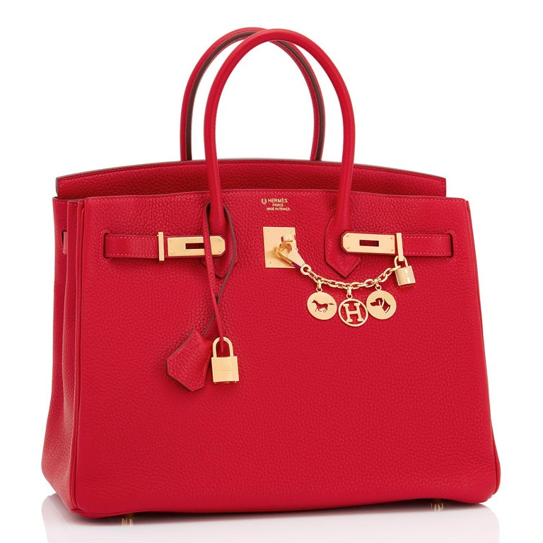 Hermes HSS Rouge Casaque Rose Extreme 35cm Birkin Special Order Horseshoe Stamp In New Condition For Sale In New York, NY