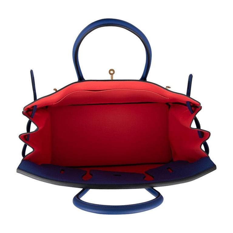 Hermes HSSBirkin 40 Bag Electric Blue / Rose Jaipur Togo Brushed Gold Hardware For Sale 6