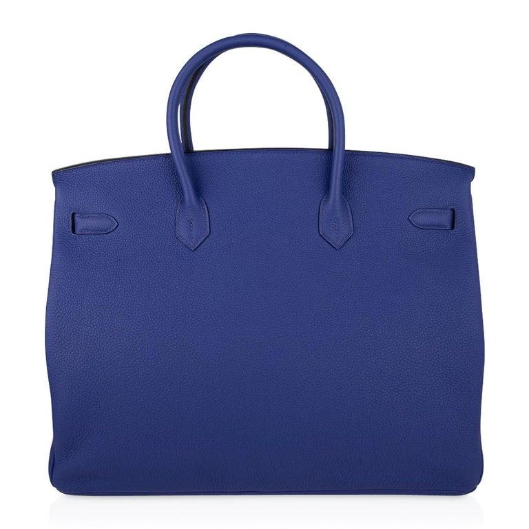 Hermes HSSBirkin 40 Bag Electric Blue / Rose Jaipur Togo Brushed Gold Hardware For Sale 7