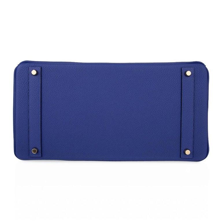 Hermes HSSBirkin 40 Bag Electric Blue / Rose Jaipur Togo Brushed Gold Hardware For Sale 8