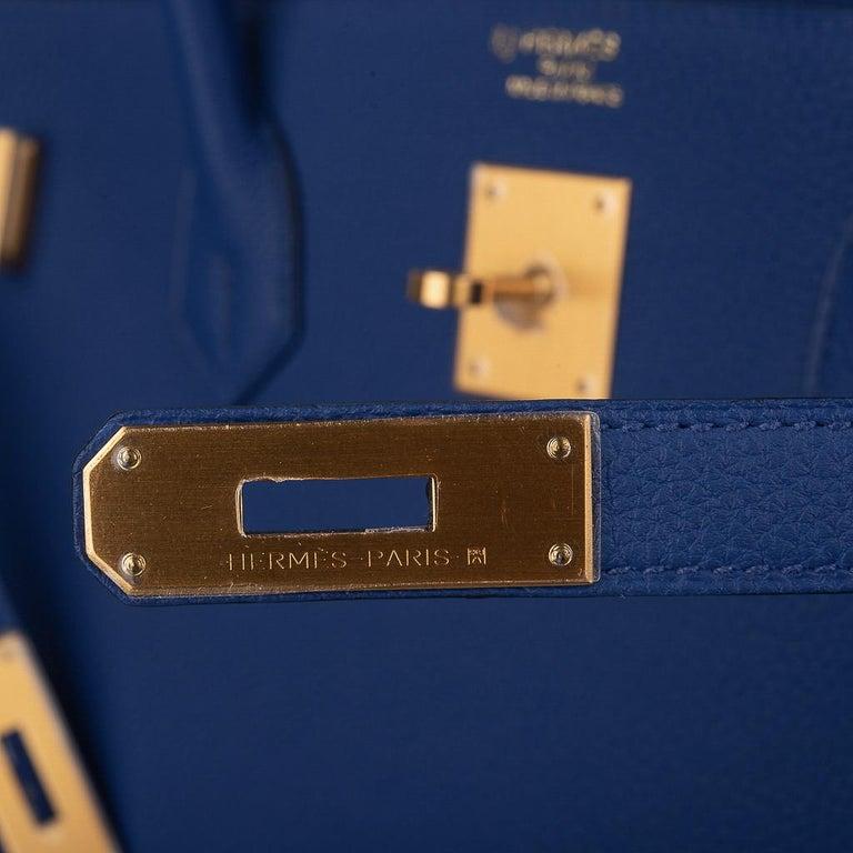 Purple Hermes HSSBirkin 40 Bag Electric Blue / Rose Jaipur Togo Brushed Gold Hardware For Sale