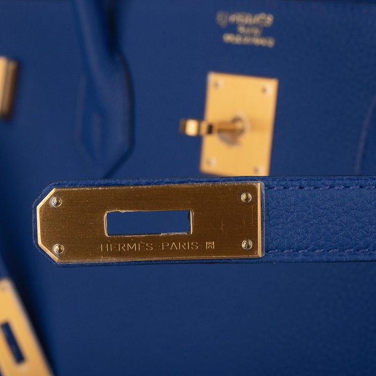 Purple Hermes Birkin HSS 40 Bag Electric Blue / Rose Jaipur Togo Brushed Gold Hardware For Sale