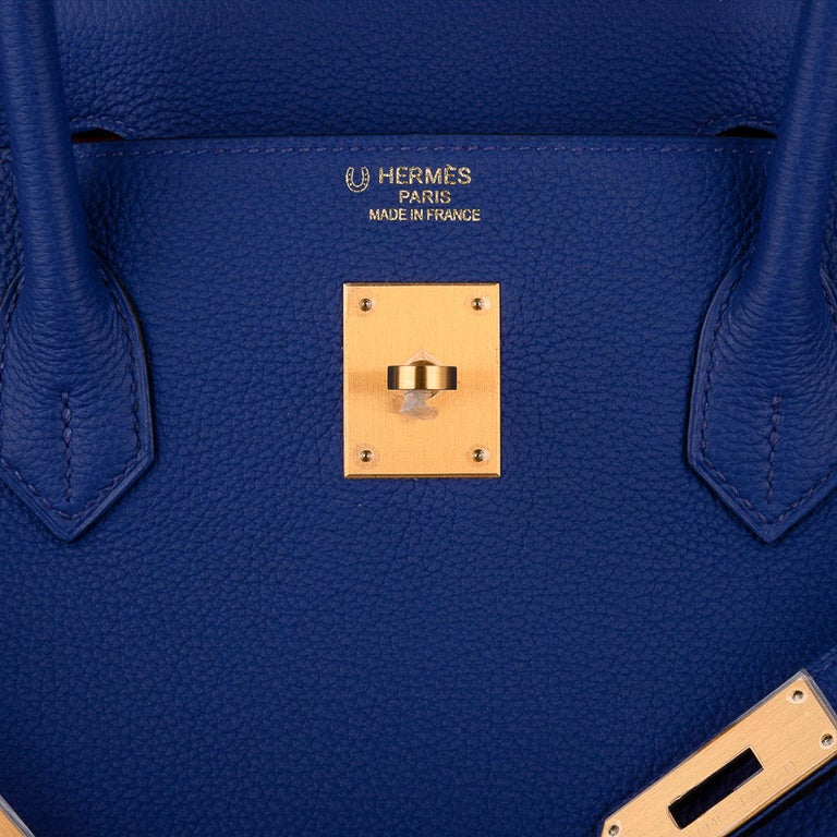 Hermes Birkin HSS 40 Bag Electric Blue / Rose Jaipur Togo Brushed Gold Hardware In New Condition For Sale In Miami, FL
