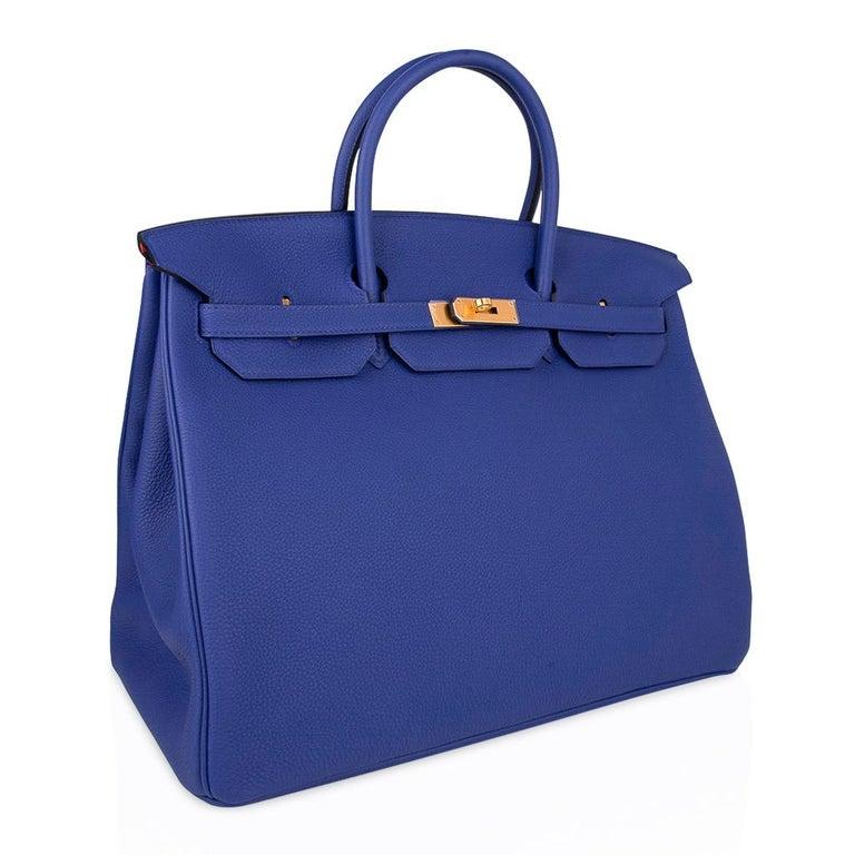 Women's or Men's Hermes HSSBirkin 40 Bag Electric Blue / Rose Jaipur Togo Brushed Gold Hardware For Sale