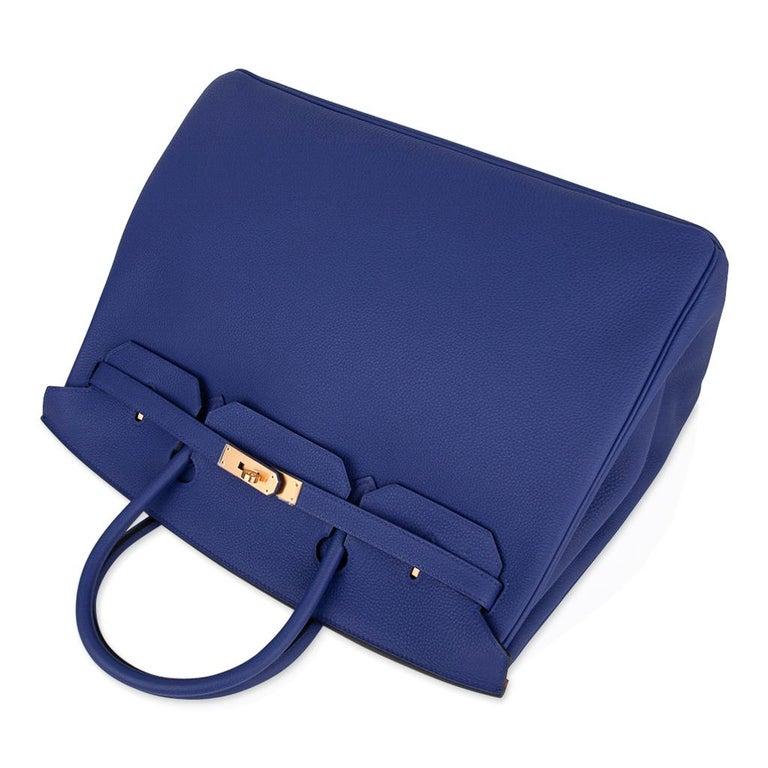 Hermes HSSBirkin 40 Bag Electric Blue / Rose Jaipur Togo Brushed Gold Hardware For Sale 1