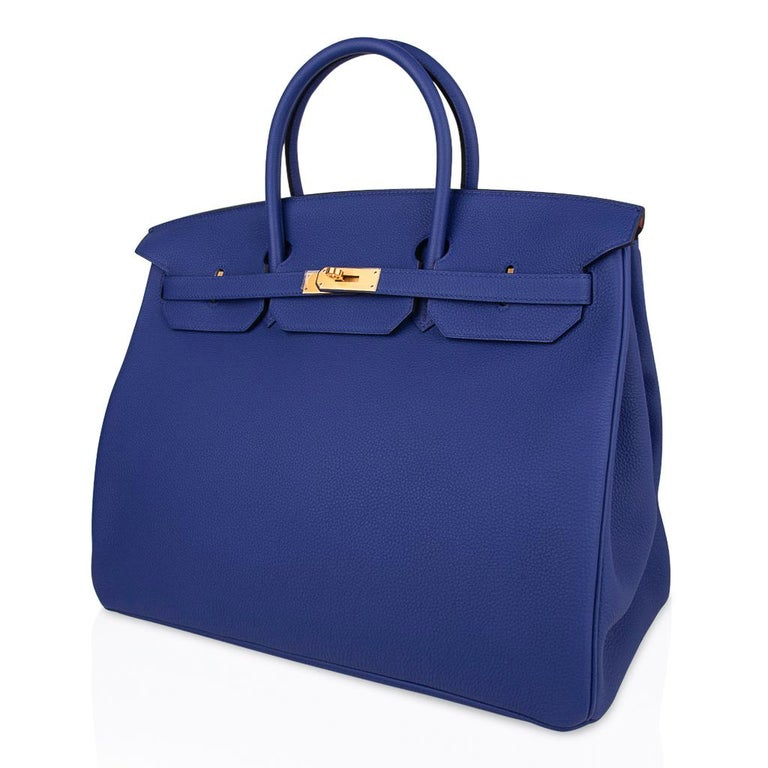 Hermes HSSBirkin 40 Bag Electric Blue / Rose Jaipur Togo Brushed Gold Hardware For Sale 2