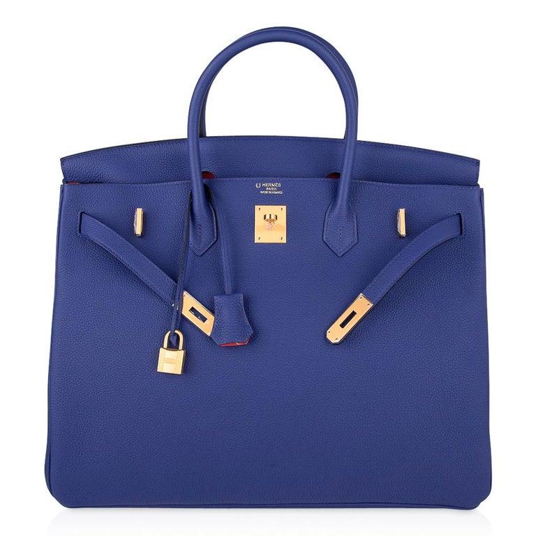 Hermes HSSBirkin 40 Bag Electric Blue / Rose Jaipur Togo Brushed Gold Hardware For Sale 3
