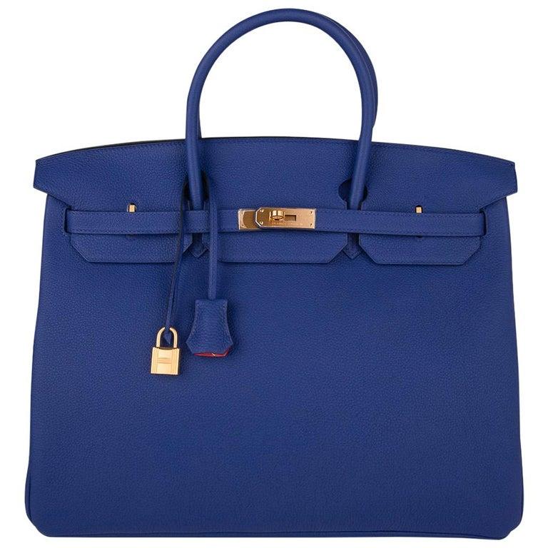 Hermes HSSBirkin 40 Bag Electric Blue / Rose Jaipur Togo Brushed Gold Hardware For Sale