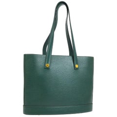 Hermes Hunter Green Leather Gold Carryall Top Handle Satchel Shoulder Tote Bag