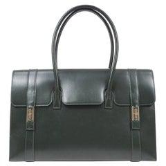Hermes Hunter Green Leather Silver Buckle Evening Top Handle Satchel Tote Bag