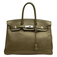 HERMES Iconic Birkin 35 Swift Green Bag