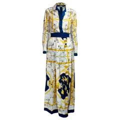 "Hermès iconic ""Les Bécanes"" motifs skirt ensemble. circa 1970s"