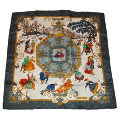 "Hermes Iconic Signature ""Winter Wonderland"" Silk Jacquard Scarf"