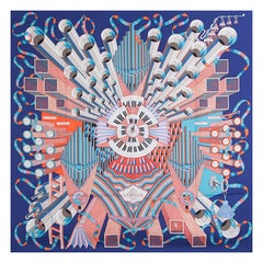 Hermes indigo blue POINT D'ORGUE 90 silk twill Scarf