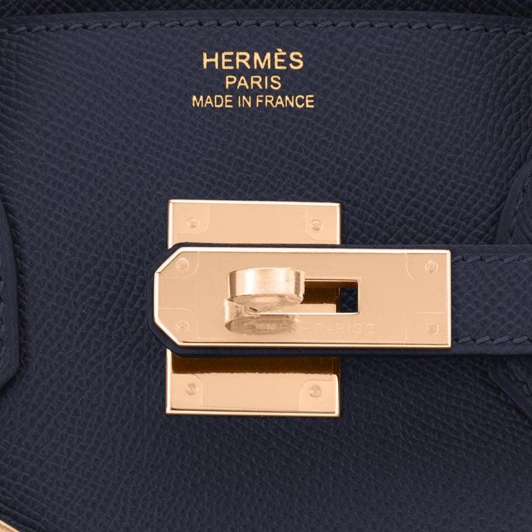 Hermes Indigo Rose Gold Deep Navy Blue Birkin 30cm Bag Z Stamp, 2021 For Sale 5