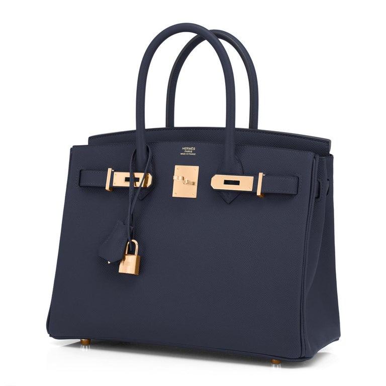 Hermes Indigo Rose Gold Deep Navy Blue Birkin 30cm Bag Z Stamp, 2021 For Sale 6