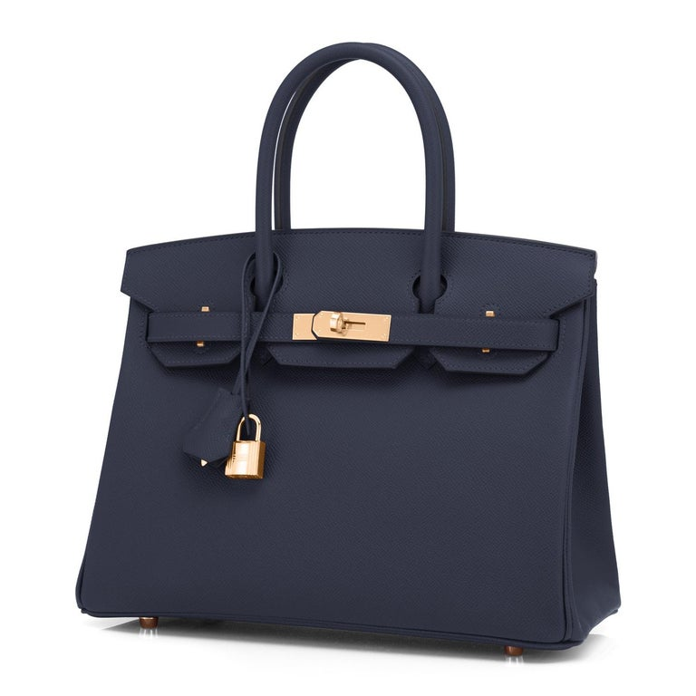 Hermes Indigo Rose Gold Deep Navy Blue Birkin 30cm Bag Z Stamp, 2021 Truly one of the prettiest, most elegant combinations we have ever seen! Brand New in Box.  Store Fresh.  Pristine Condition (with plastic on hardware). Just purchased from Hermes