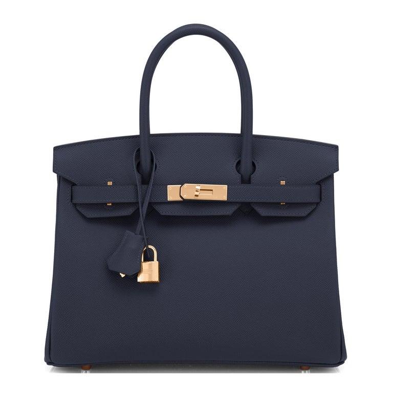 Black Hermes Indigo Rose Gold Deep Navy Blue Birkin 30cm Bag Z Stamp, 2021 For Sale