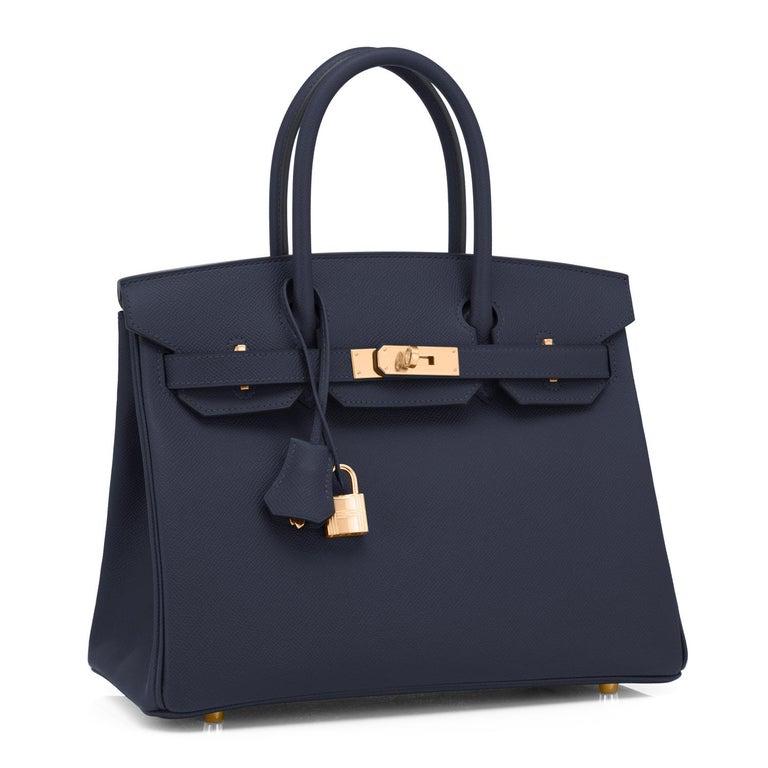 Hermes Indigo Rose Gold Deep Navy Blue Birkin 30cm Bag Z Stamp, 2021 In New Condition For Sale In New York, NY
