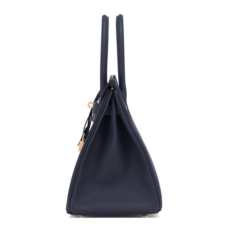 Women's or Men's Hermes Indigo Rose Gold Deep Navy Blue Birkin 30cm Bag Z Stamp, 2021 For Sale