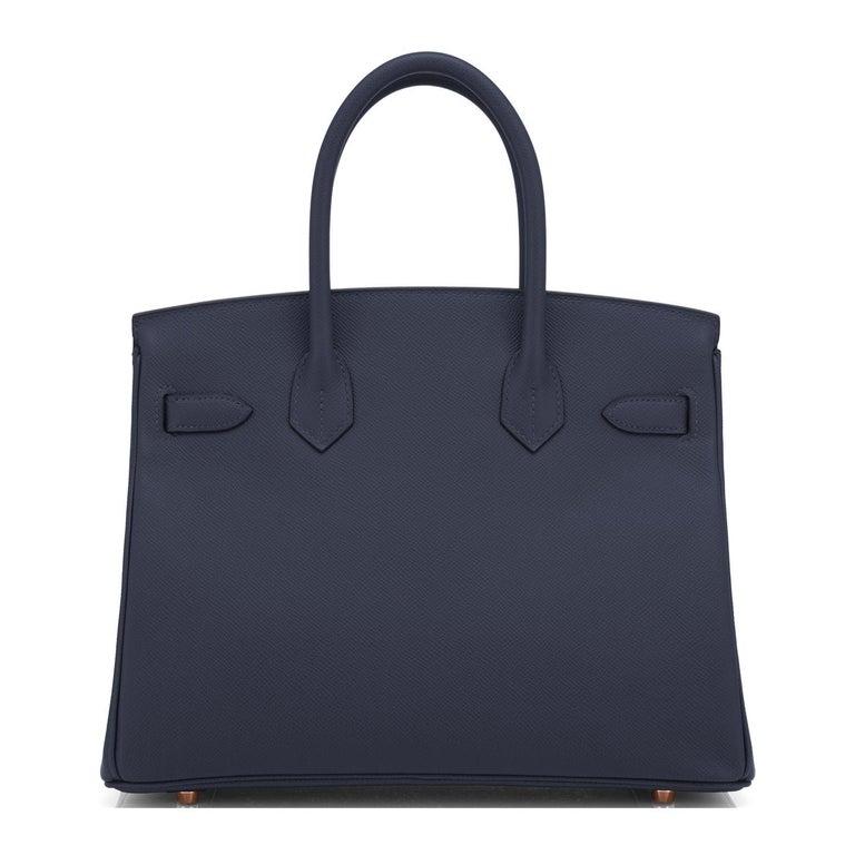 Hermes Indigo Rose Gold Deep Navy Blue Birkin 30cm Bag Z Stamp, 2021 For Sale 1