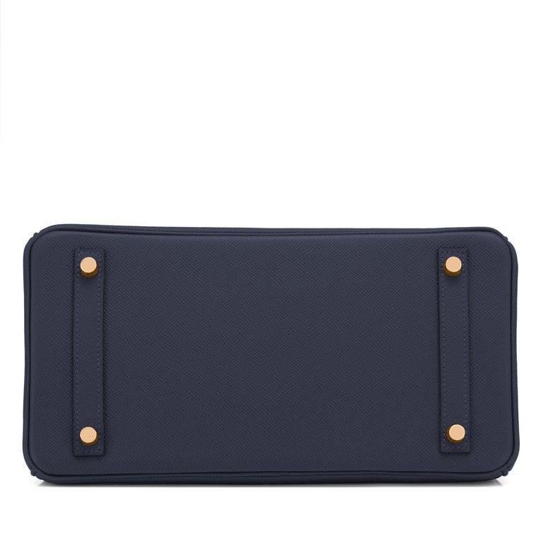 Hermes Indigo Rose Gold Deep Navy Blue Birkin 30cm Bag Z Stamp, 2021 For Sale 2