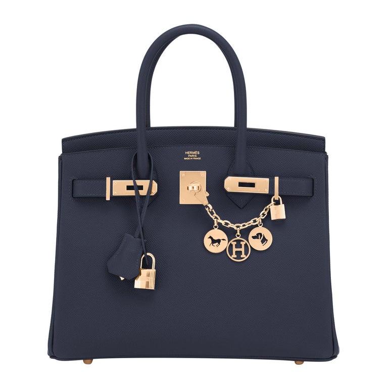 Hermes Indigo Rose Gold Deep Navy Blue Birkin 30cm Bag Z Stamp, 2021 For Sale
