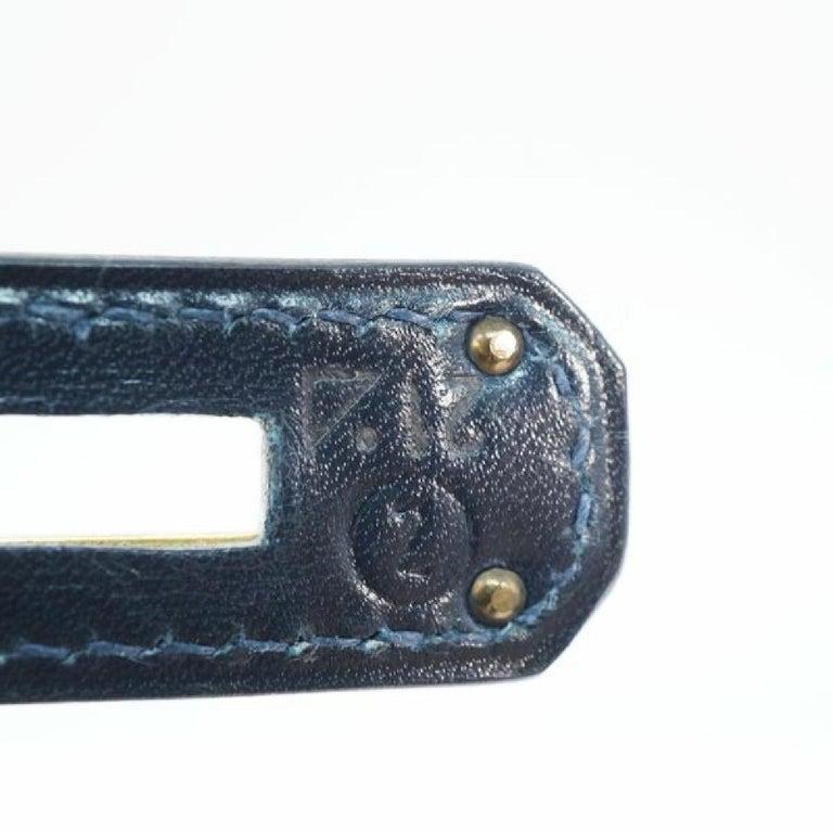 HERMES inside seam Kelly32 Womens handbag Navy x gold hardware For Sale 5