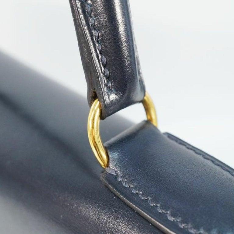 HERMES inside seam Kelly32 Womens handbag Navy x gold hardware For Sale 6