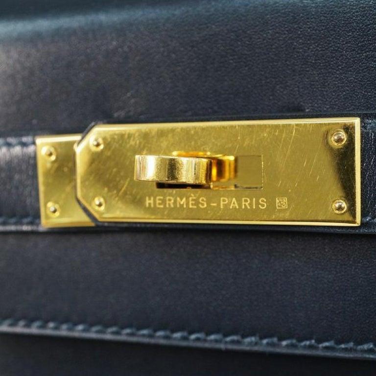 HERMES inside seam Kelly32 Womens handbag Navy x gold hardware For Sale 8